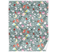 Pattern of funny birds Poster
