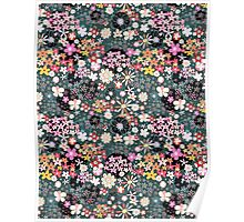 Pattern of multicolored flowers Poster