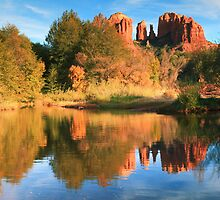 Cathedral Rock and Landscape Reflections by Roupen  Baker