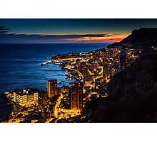 Monaco at sunset Photographic Print