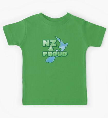 NZ and PROUD New Zealand map kiwi funny Kids Tee