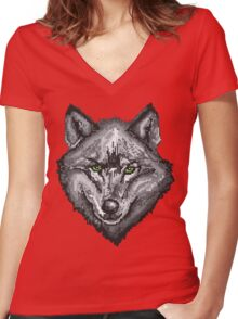 Pixel Wolf I Women's Fitted V-Neck T-Shirt