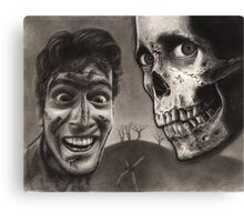 Evil Dead 2 - Bloody Ash with Skull Horror Art Canvas Print