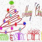 Merry Christmas Tree and Presents Card by Vickie Emms