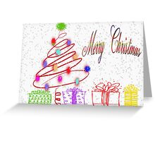 Merry Christmas Tree and Presents Card Greeting Card