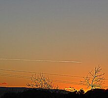 The Peach Sky And The Vapour Trail by Fara