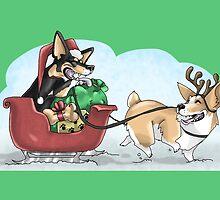 Christmas Corgis: Green by CaptainSunshine