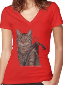 Norman Reedus Cat  Women's Fitted V-Neck T-Shirt
