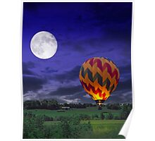 Night Time Surreal Landscape with Hot Air Balloon Poster