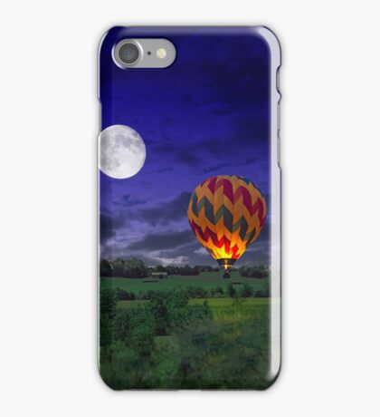 Night Time Surreal Landscape with Hot Air Balloon iPhone Case/Skin
