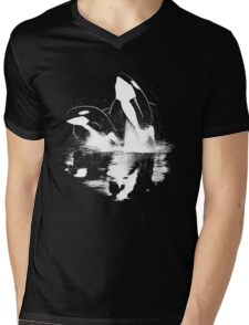 Jumping Orcas Mens V-Neck T-Shirt