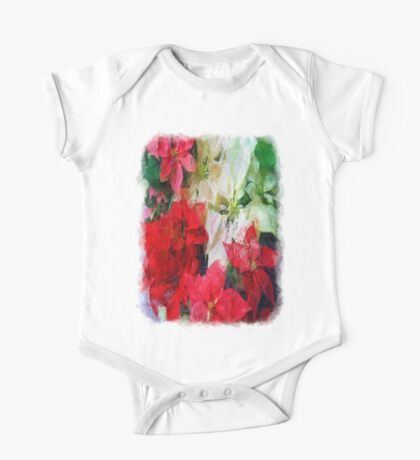 Mixed color Poinsettias 1 Sketchy One Piece - Short Sleeve