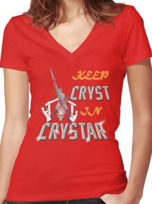 Keep CRYST In CRYSTAR Women's Fitted V-Neck T-Shirt