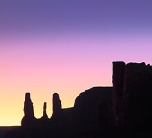Three Sisters after sunset, Monument Valley by Roupen  Baker