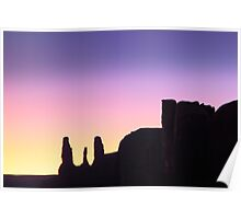Three Sisters after sunset, Monument Valley Poster