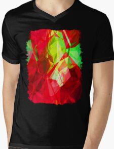 Mixed color Poinsettias 1 Abstract Polygons 1 Mens V-Neck T-Shirt