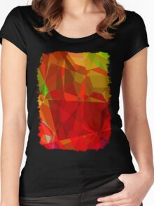 Mixed color Poinsettias 1 Abstract Polygons 3 Women's Fitted Scoop T-Shirt