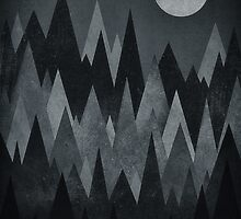 Dark Mystery Abstract Geometric Triangle Peak Wood's (black & white) by badbugs