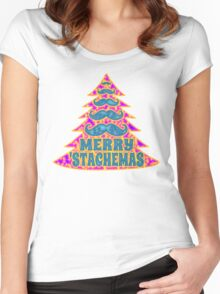 Psychedelic Mustache Christmas Tree Women's Fitted Scoop T-Shirt