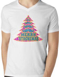 Psychedelic Mustache Christmas Tree Mens V-Neck T-Shirt