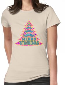 Psychedelic Mustache Christmas Tree Womens Fitted T-Shirt