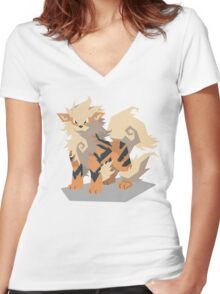 Cutout Arcanine Women's Fitted V-Neck T-Shirt