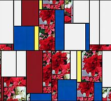 Mixed color Poinsettias 1 Art Rectangles 4 by Christopher Johnson