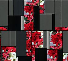 Mixed color Poinsettias 1 Art Rectangles 7 by Christopher Johnson
