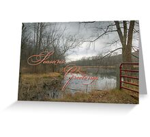 Season's Greetings Holiday Card - Red Gate At The Pond Greeting Card