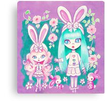 Bunny Girl Sisters Canvas Print