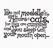Do not meddle in the affairs of cats, for they are cunning and you sleep with your mouth open Kids Clothes