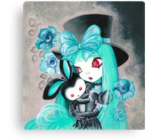 Sweet Gothic Girl With Bunny Canvas Print