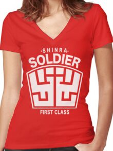 Final Fantasy VII - SOLDIER First Class Logo Women's Fitted V-Neck T-Shirt