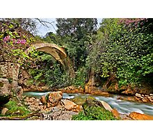 Stone arched bridge in Neda canyon Photographic Print