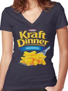 Kraft Dinner Mac 'n' Cheese T-Shirt Women's Fitted V-Neck T-Shirt