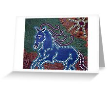 Running Horse - Dot Painting by Valentina Miletic Greeting Card