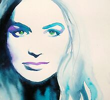 Cersei Lannister Game of Thrones Original Watercolor Portrait Teal by KimberlyGodfrey