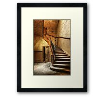 Decaying staircase in an abandoned central office Framed Print
