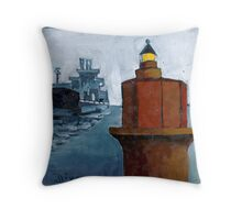 Wolf Trap Lighthouse with Passing Freighter Throw Pillow