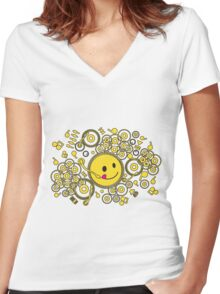 Happy_Music Women's Fitted V-Neck T-Shirt