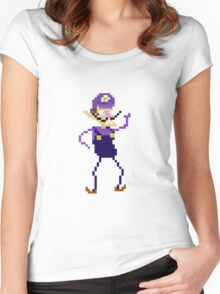 Waluigi Pixel Art Graphic Women's Fitted Scoop T-Shirt