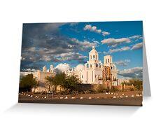 Sunset at San Xavier Mission Greeting Card