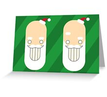 Santa Creep #2+3, Twins, Green Background Greeting Card