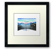 Snowy Winter Evening with a Frame Framed Print