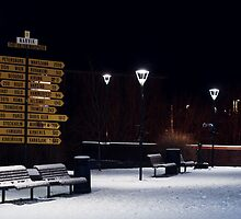 Lamps in Snow by Bodil Kristine  Fagerthun