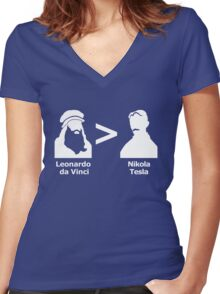 da Vinci > Tesla Women's Fitted V-Neck T-Shirt
