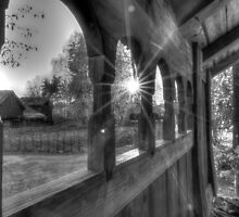 Sunset at an old farm (B&W) by Christian Filberg