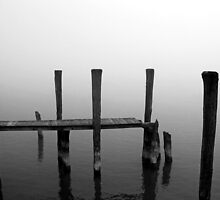 Foggy Dock 6 Black and White by marybedy