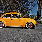 Yellow Volkswagen Beetle on Angas Creek Road by Ferenghi