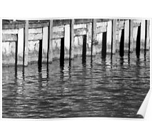 Retaining Wall 10 Black and White Poster